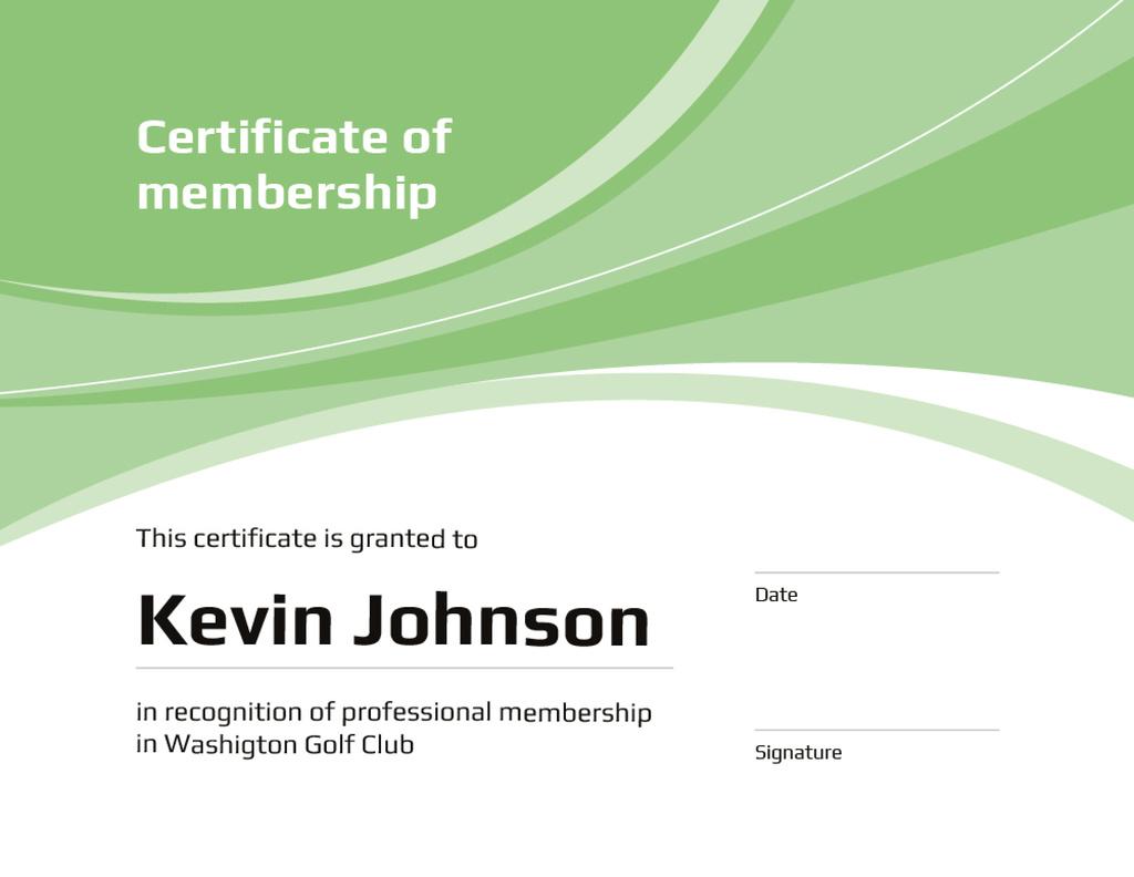 Golf Club Membership confirmation in green Certificate – шаблон для дизайна