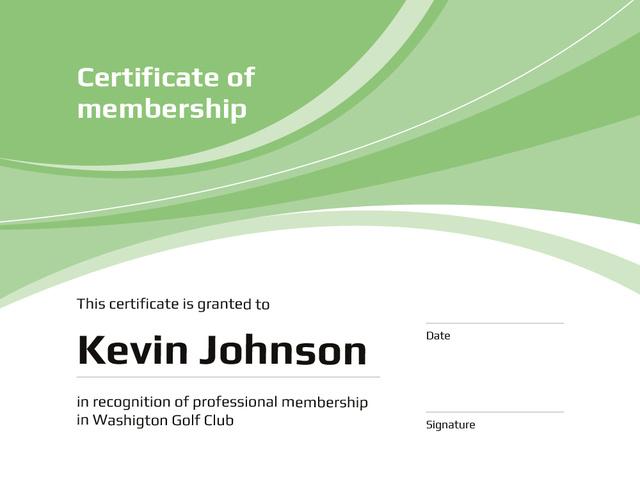 Template di design Golf Club Membership confirmation in green Certificate