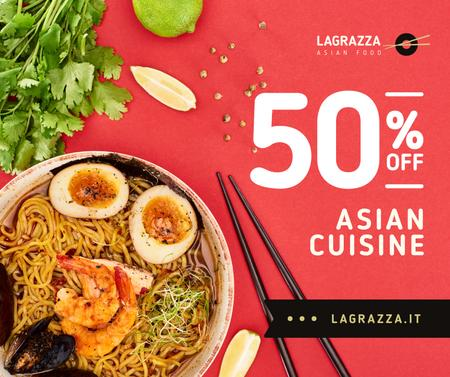 Asian Cuisine Dish with Noodles Facebook Modelo de Design