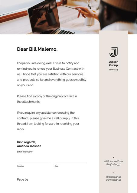 Business Contract confirmation Letterhead Design Template