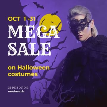 Halloween Costumes Sale Woman in Mask | Instagram Post Template