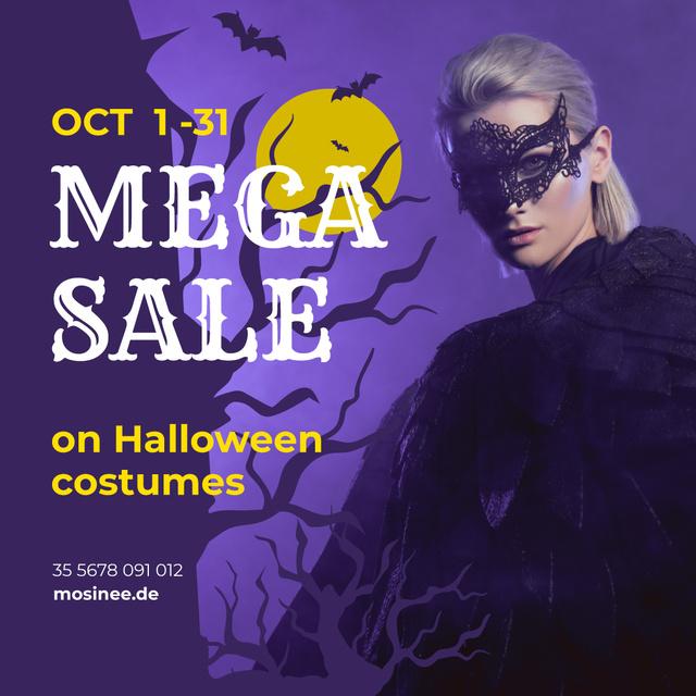 Ontwerpsjabloon van Instagram van Halloween Costumes Sale Woman in Mask