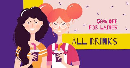 Plantilla de diseño de Two Girls with Smoothies Facebook AD