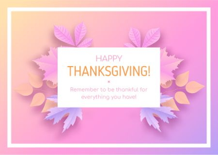 Thanksgiving in Frame of autumn leaves Card – шаблон для дизайну