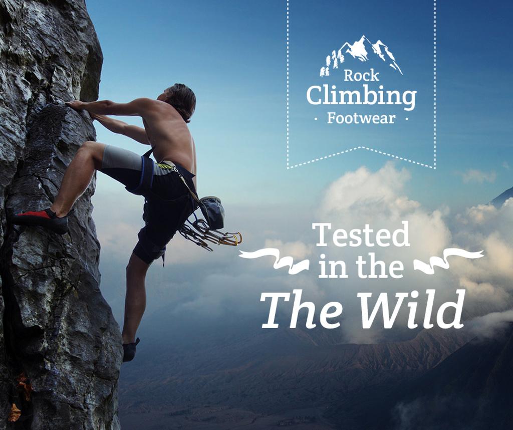 Climbing Shoes Offer Man on Rock Wall — Create a Design