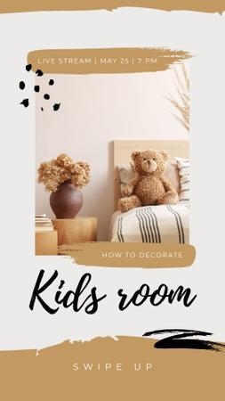 Ontwerpsjabloon van Instagram Story van Live Stream about Decorating Kids Room