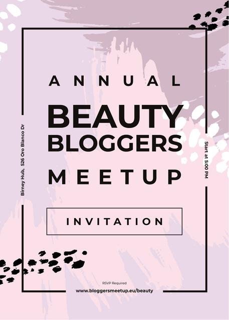 Beauty Blogger meetup on paint smudges Invitation – шаблон для дизайна