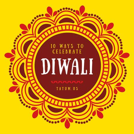 Happy Diwali Greeting Mandala in Yellow Instagram Design Template