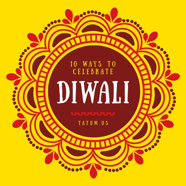 Happy Diwali Greeting Mandala in Yellow Instagram – шаблон для дизайна