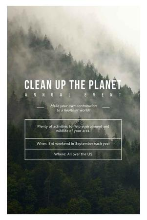 Ecological Event Announcement with Foggy Forest View Pinterest Modelo de Design