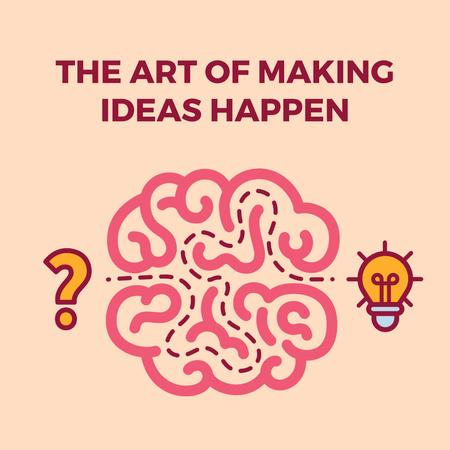 Creative idea icon with brain Animated Post – шаблон для дизайна