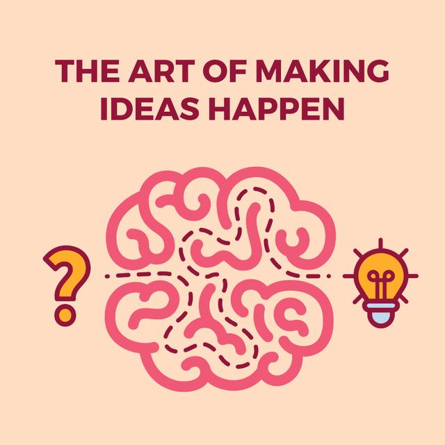 Plantilla de diseño de Creative idea icon with brain Animated Post