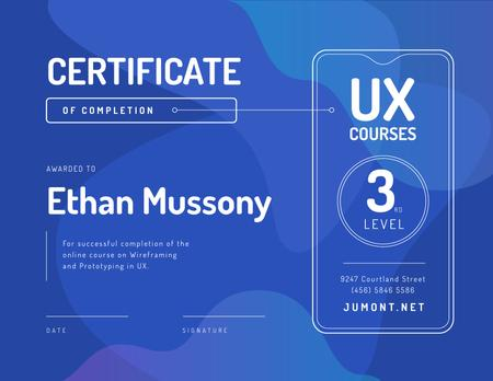 Online design Course Completion in Blue Certificate Modelo de Design