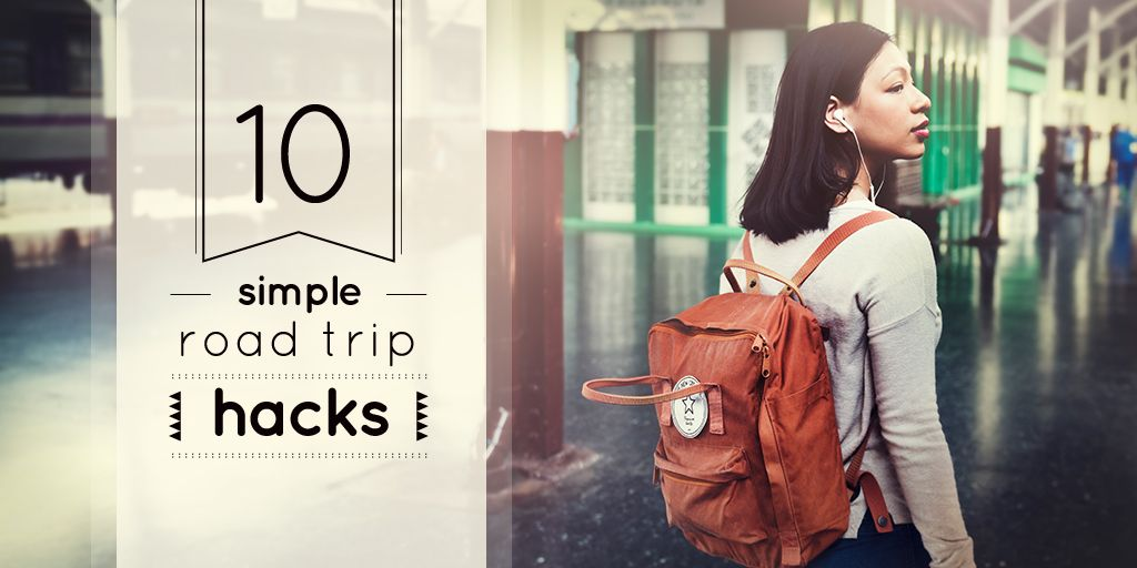 Road Trips Hacks Girl Travelling with Backpack | Twitter Post Template — Crear un diseño