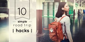 Road Trips Hacks Girl Travelling with Backpack | Twitter Post Template