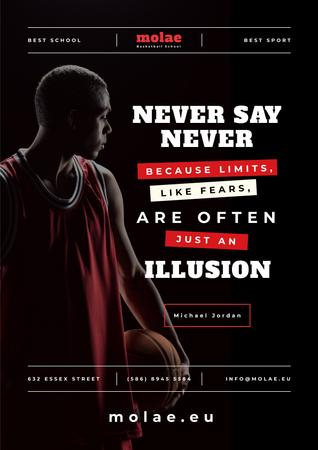 Ontwerpsjabloon van Poster van Sports Quote with Basketball Player with Ball