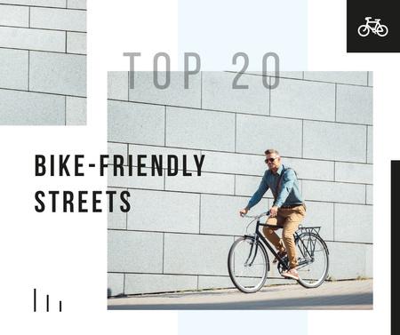 Plantilla de diseño de Man Riding bike in city Facebook