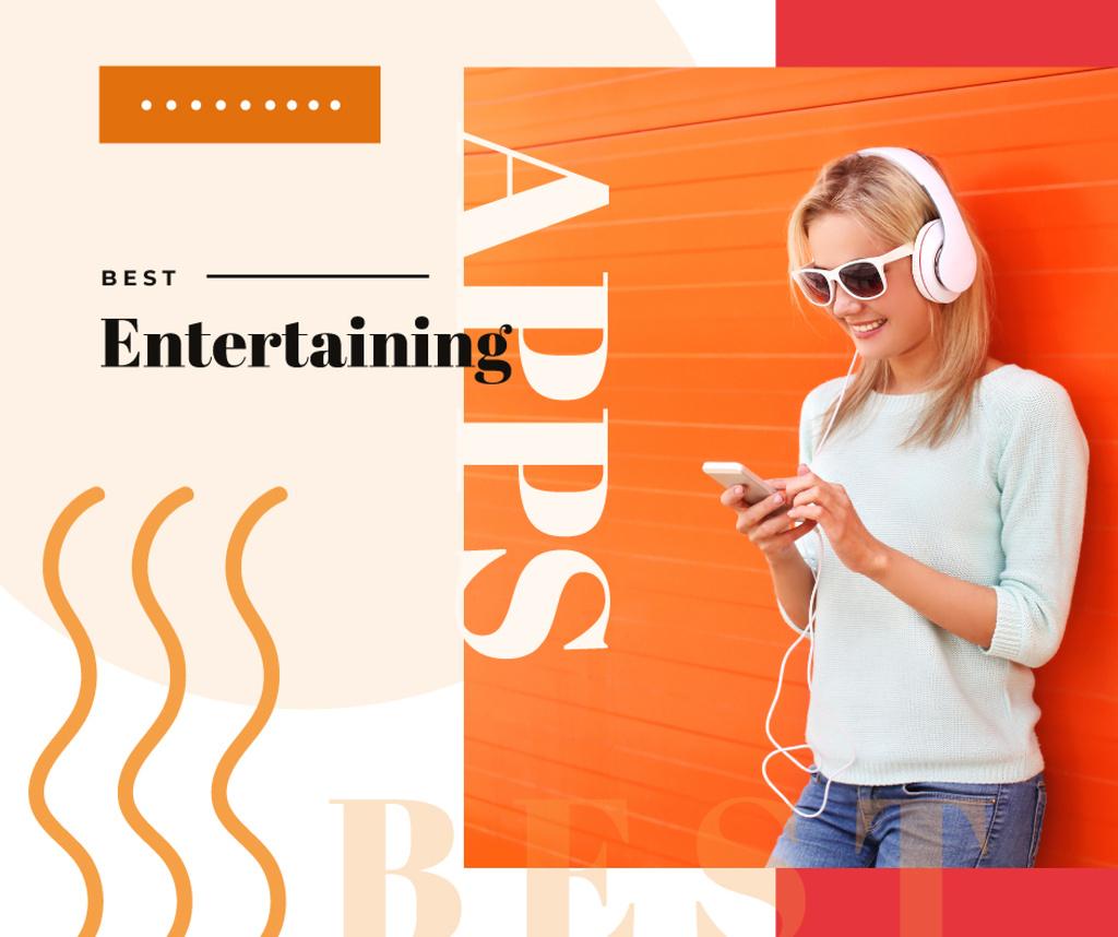 Designvorlage Woman Listening Music on Smartphone für Facebook