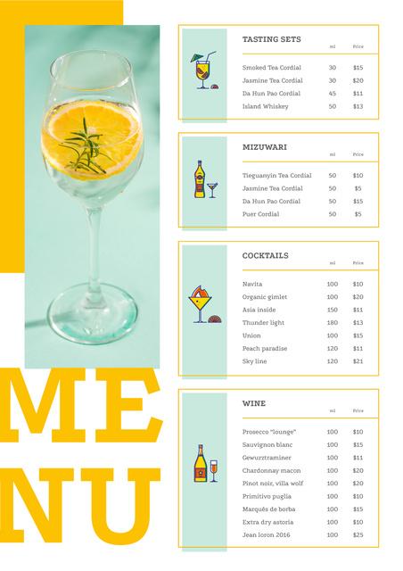 Ontwerpsjabloon van Menu van Bar offer with Cocktail drink