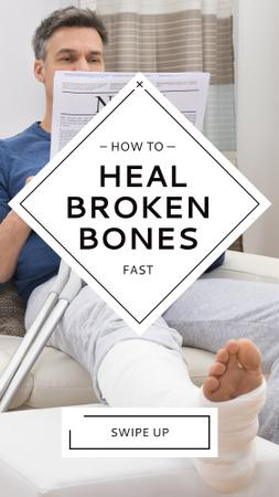 Man with Broken Leg in plaster Instagram Story – шаблон для дизайну