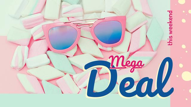Stylish pink Sunglasses on marshmallows FB event cover Modelo de Design