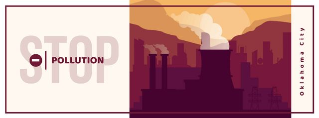 Template di design Thick smoke from industrial chimney Facebook cover