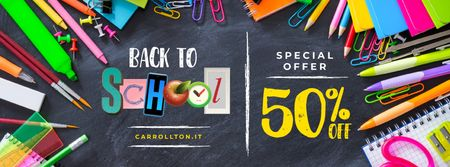 Back to School Sale Stationery on Blackboard Facebook coverデザインテンプレート