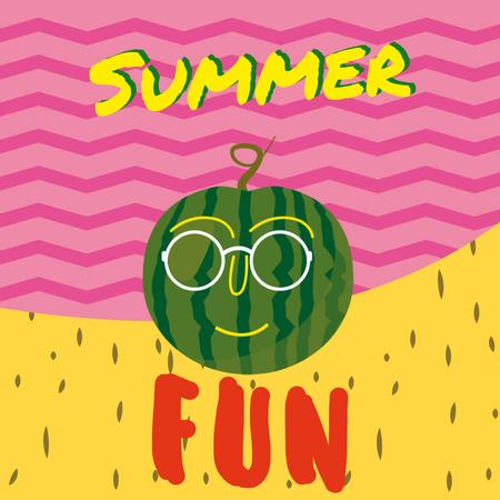 Funny watermelon in Sunglasses Animated Post Tasarım Şablonu