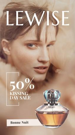 Kissing Day Sale Beautiful Woman with Perfume Bottle Instagram Video Story Modelo de Design