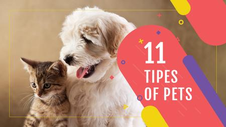 Plantilla de diseño de Pets Behavior Cute Dog and Cat Youtube Thumbnail