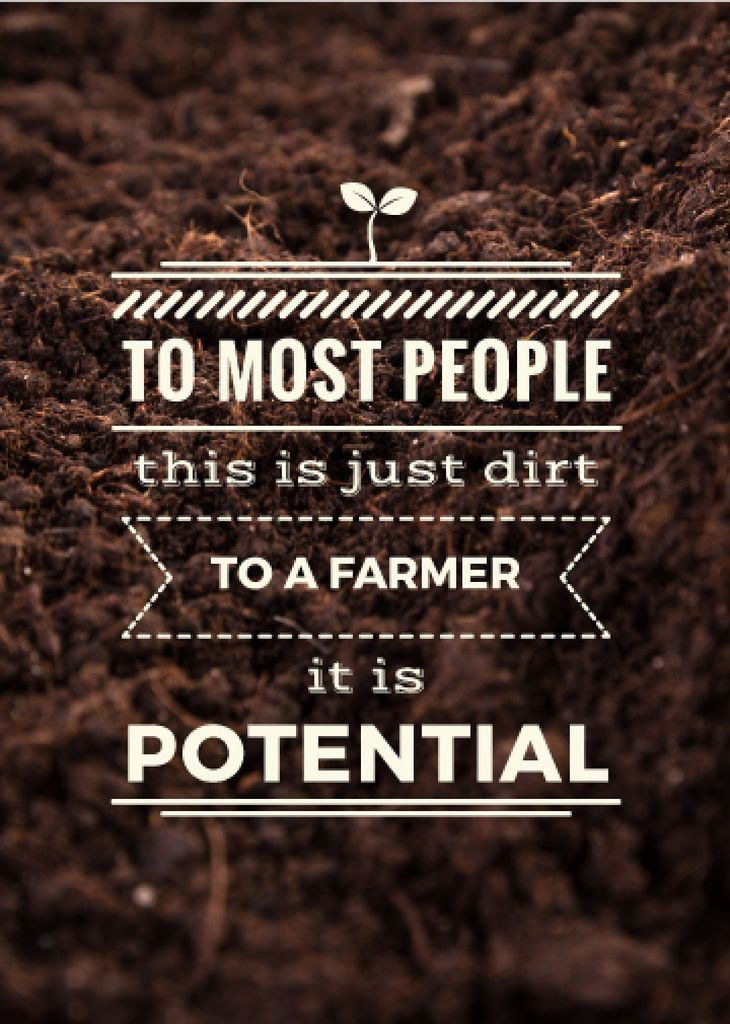 Farming quote on farm field Soil — Create a Design
