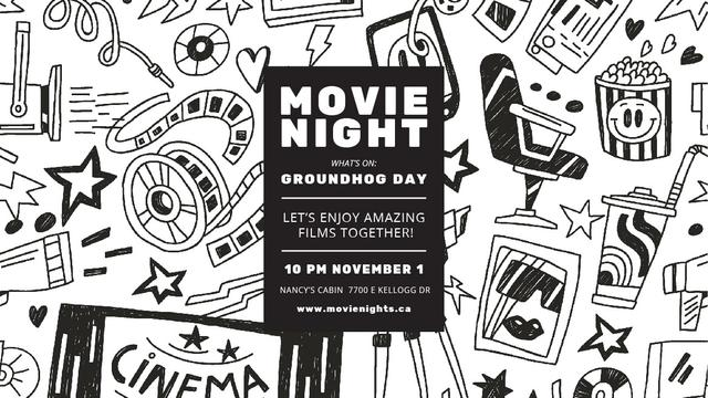 Ontwerpsjabloon van Title van Movie night event