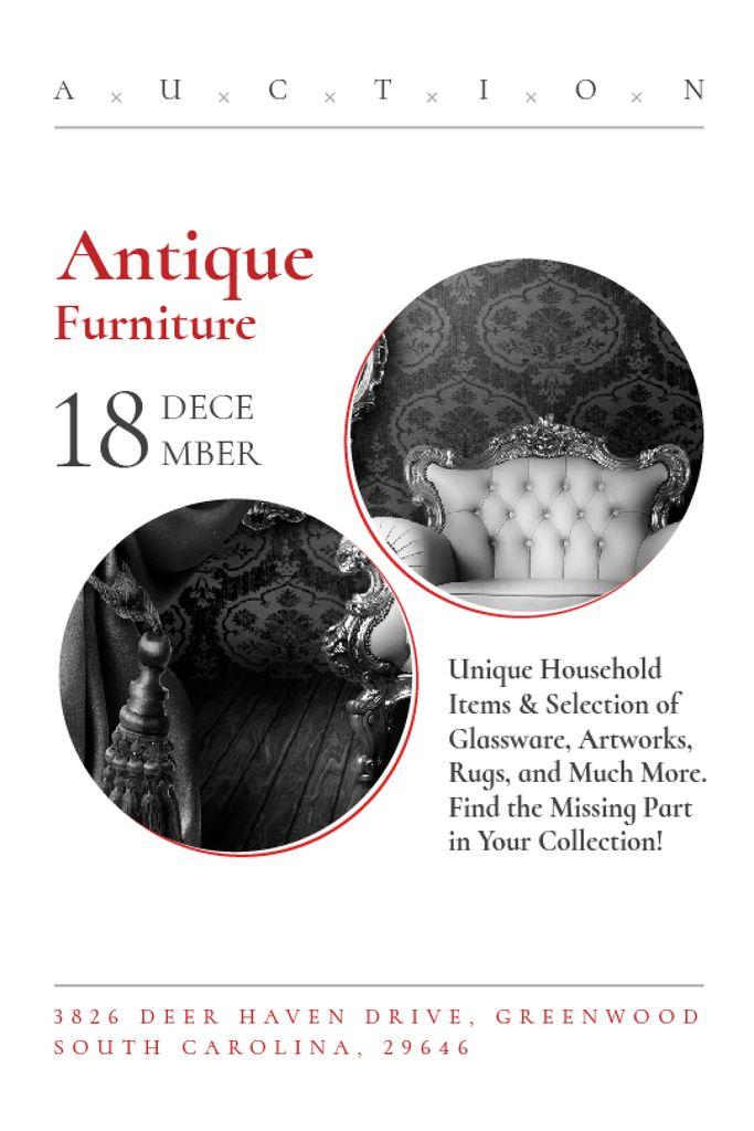 Szablon projektu Antique Furniture Auction with armchair Tumblr