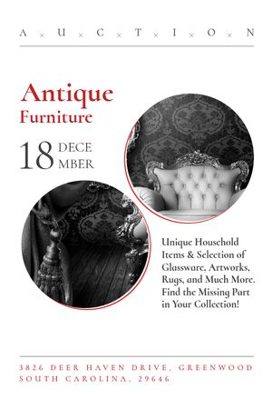 Template di design Antique Furniture Auction with armchair Tumblr