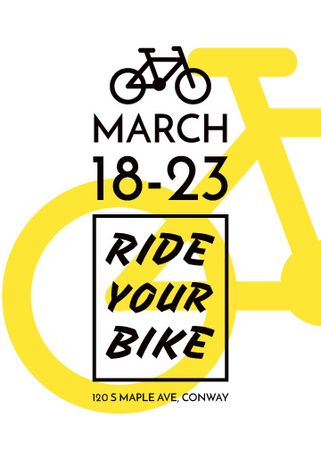 Ontwerpsjabloon van Flayer van Cycling Event announcement simple Bicycle Icon