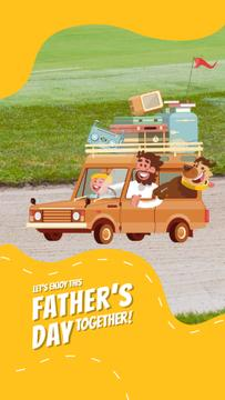 Father's Day Greeting Happy Family Travelling by Car