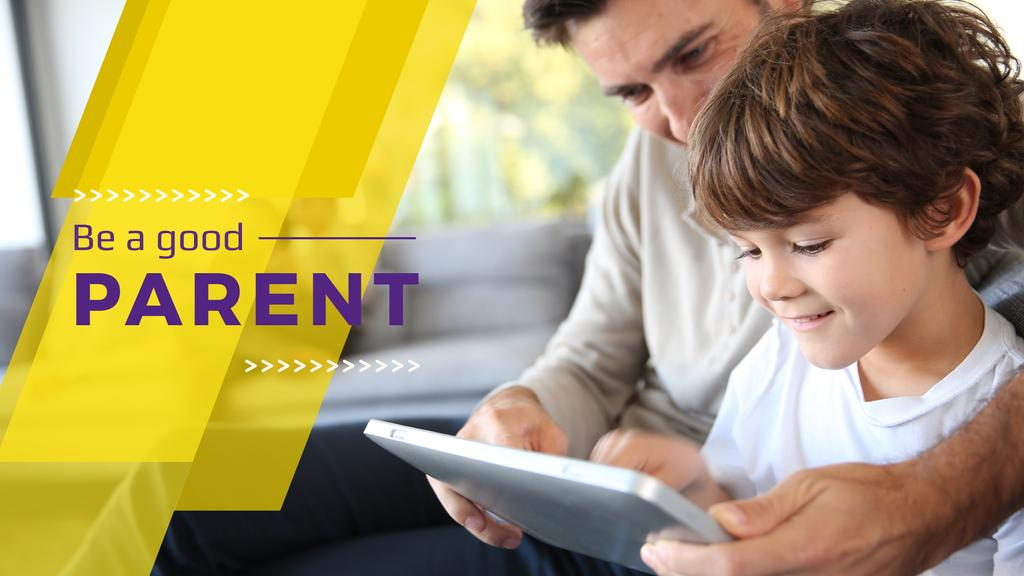 Parenting Tips Father with Son Using Tablet — ein Design erstellen