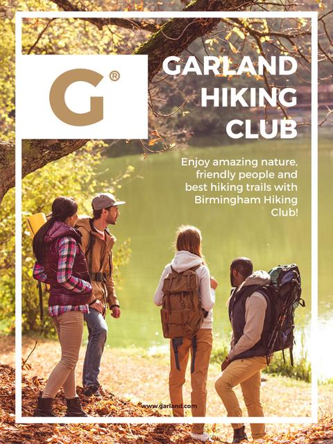 Szablon projektu Garland hiking club meeting poster Poster US