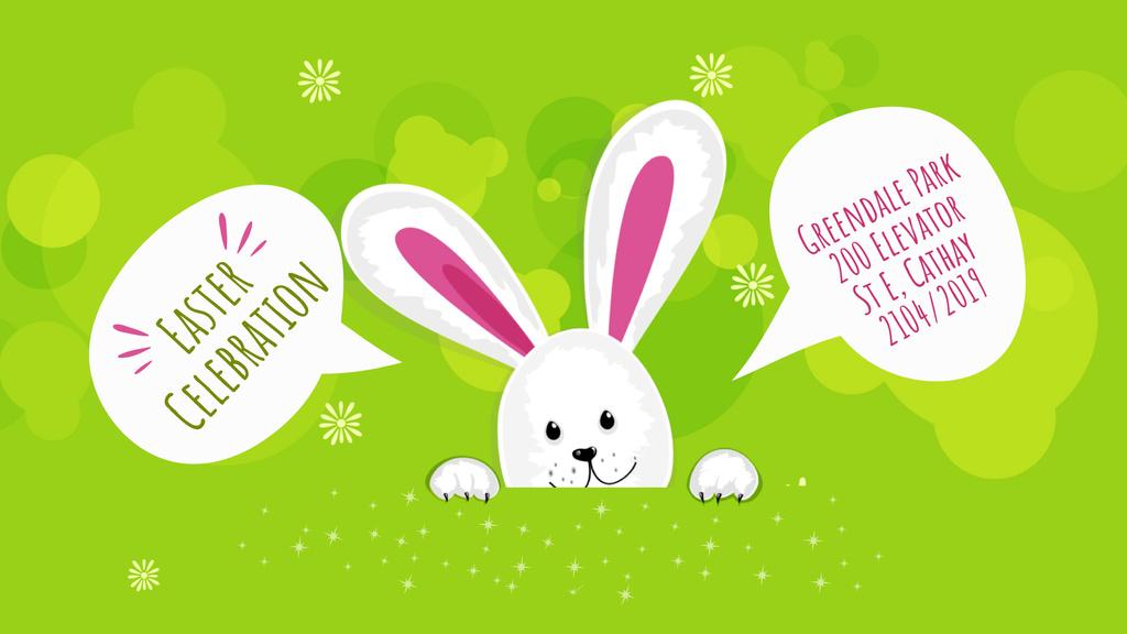 Easter Invitation Cute Bunny on Green   Full Hd Video Template — Crea un design