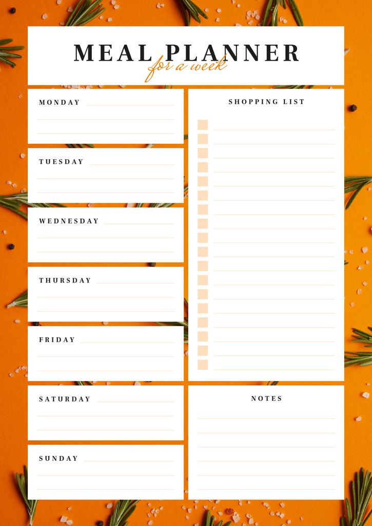 Weekly Meal Planner in Orange Frame — Crear un diseño