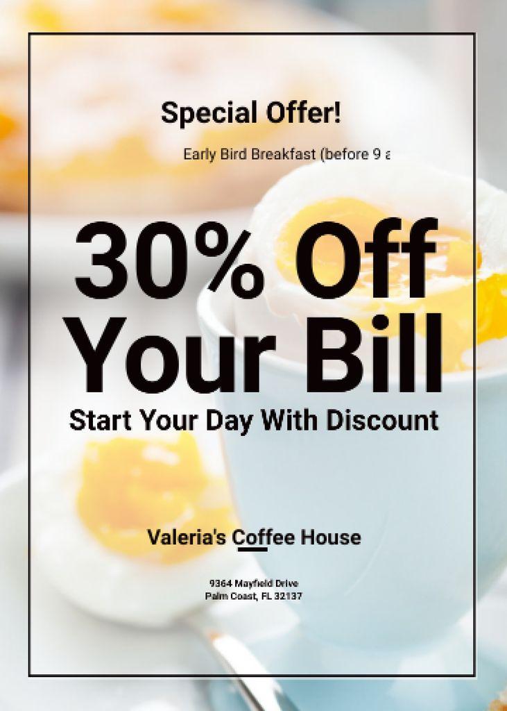 Designvorlage Early Bird Breakfast Discount Served Boiled Egg für Flayer