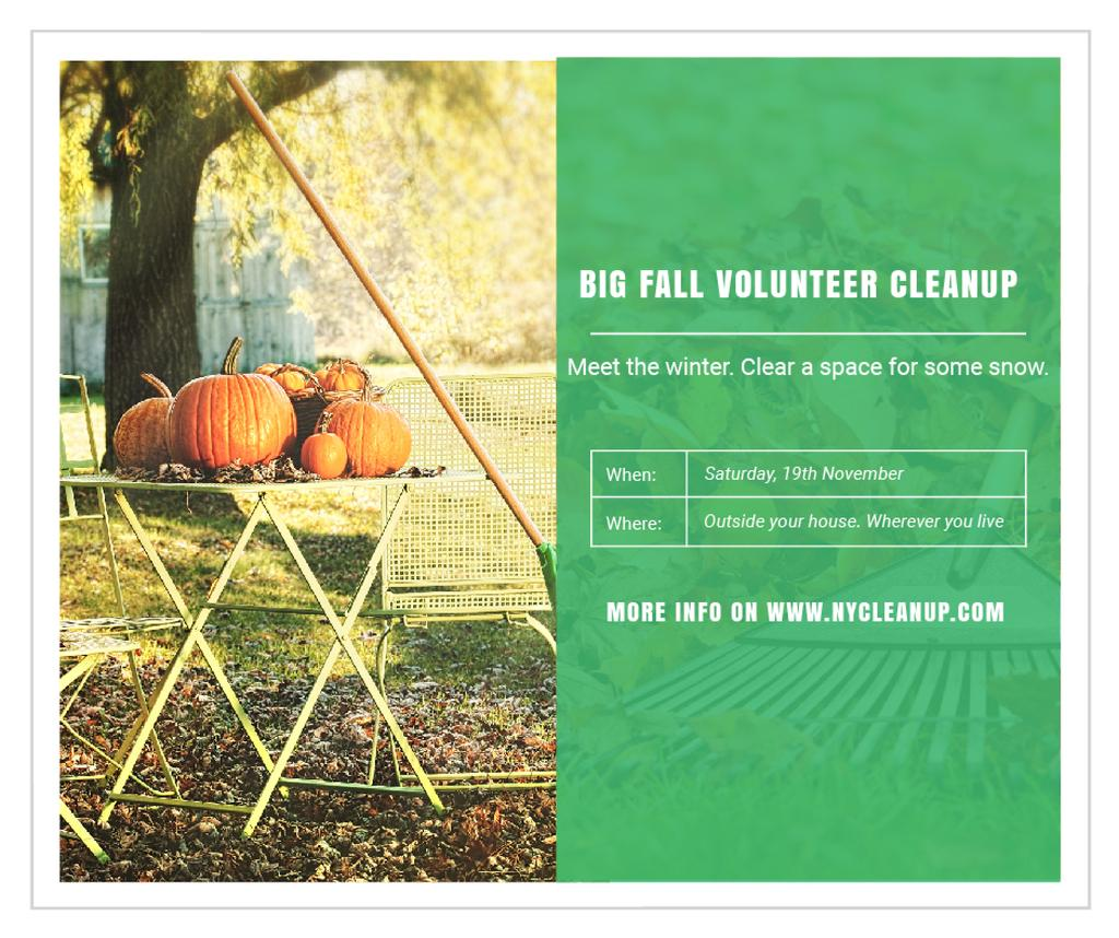 Volunteer Cleanup with Pumpkins in Autumn Garden — Crear un diseño