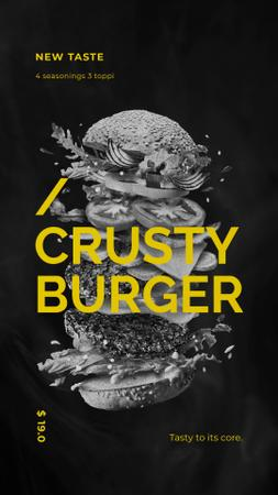 Template di design Fast Food Menu Putting Together Cheeseburger Layers Instagram Video Story