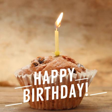 Plantilla de diseño de Birthday candle on muffin Animated Post