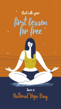 Plantilla de diseño de Woman practicing yoga on Yoga Day Instagram Story