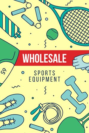 Modèle de visuel Fitness Ad with Sports Equipment - Tumblr