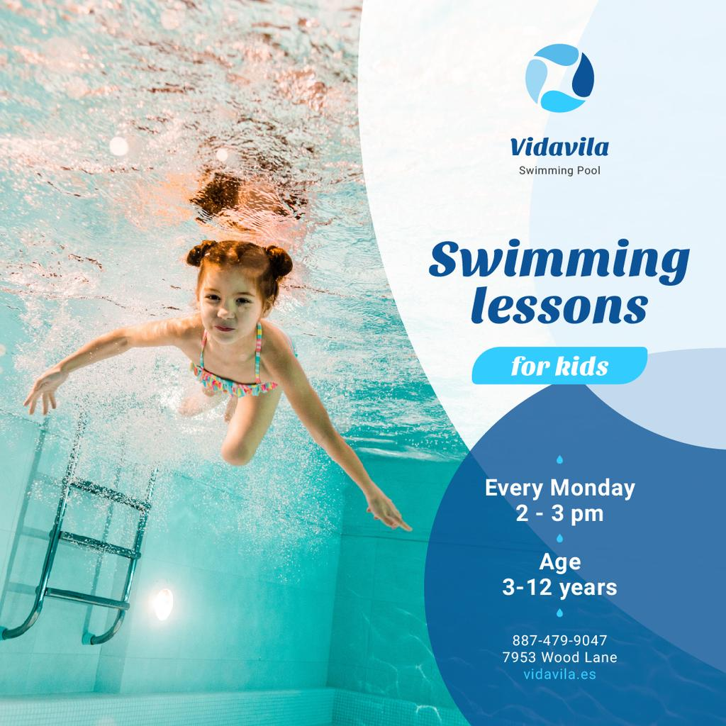 Swimming Lessons Offer Girl in Pool — Create a Design