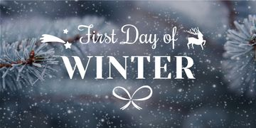 First day of winter lettering with frozen fir tree branch