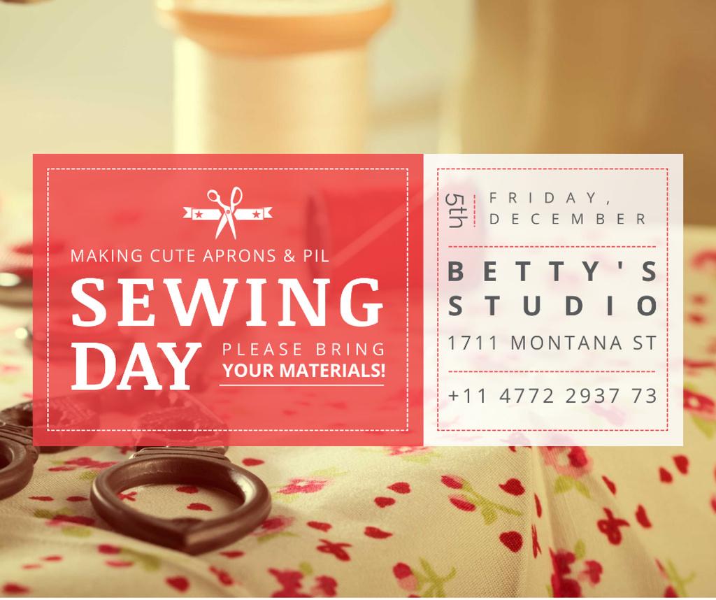 Plantilla de diseño de Sewing day event with needlework tools Facebook