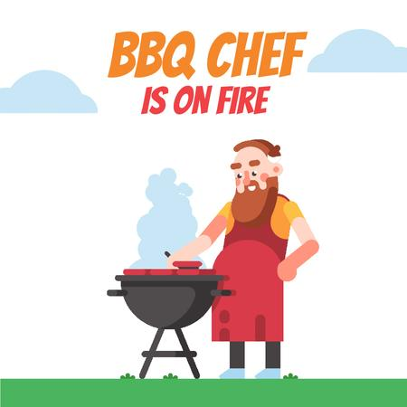 Template di design Man cooking by barbecue grill Animated Post